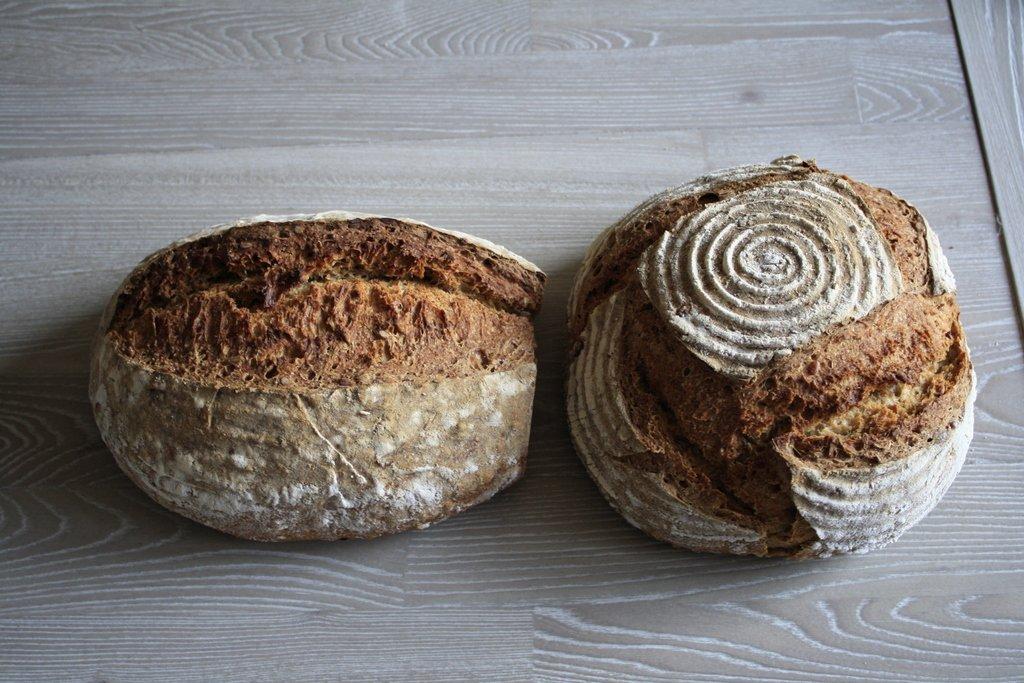 Baked sunflower rye bread