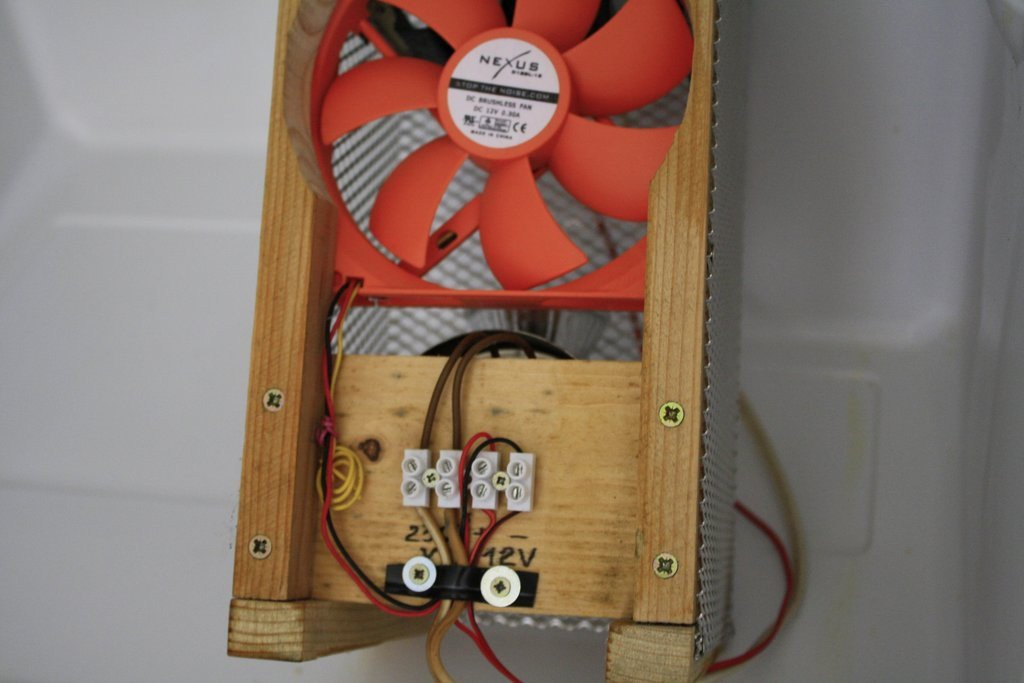 De achterkant van de lamp en ventilator